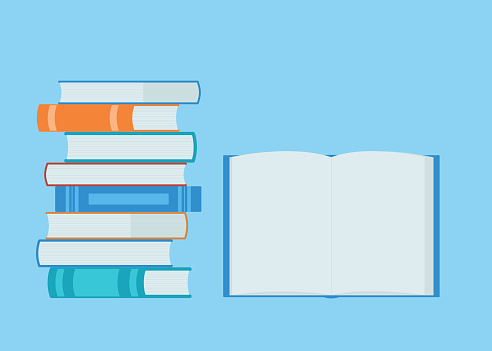 Open book and pile books. Reading, education, e-book, literature. Vector illustration in flat style