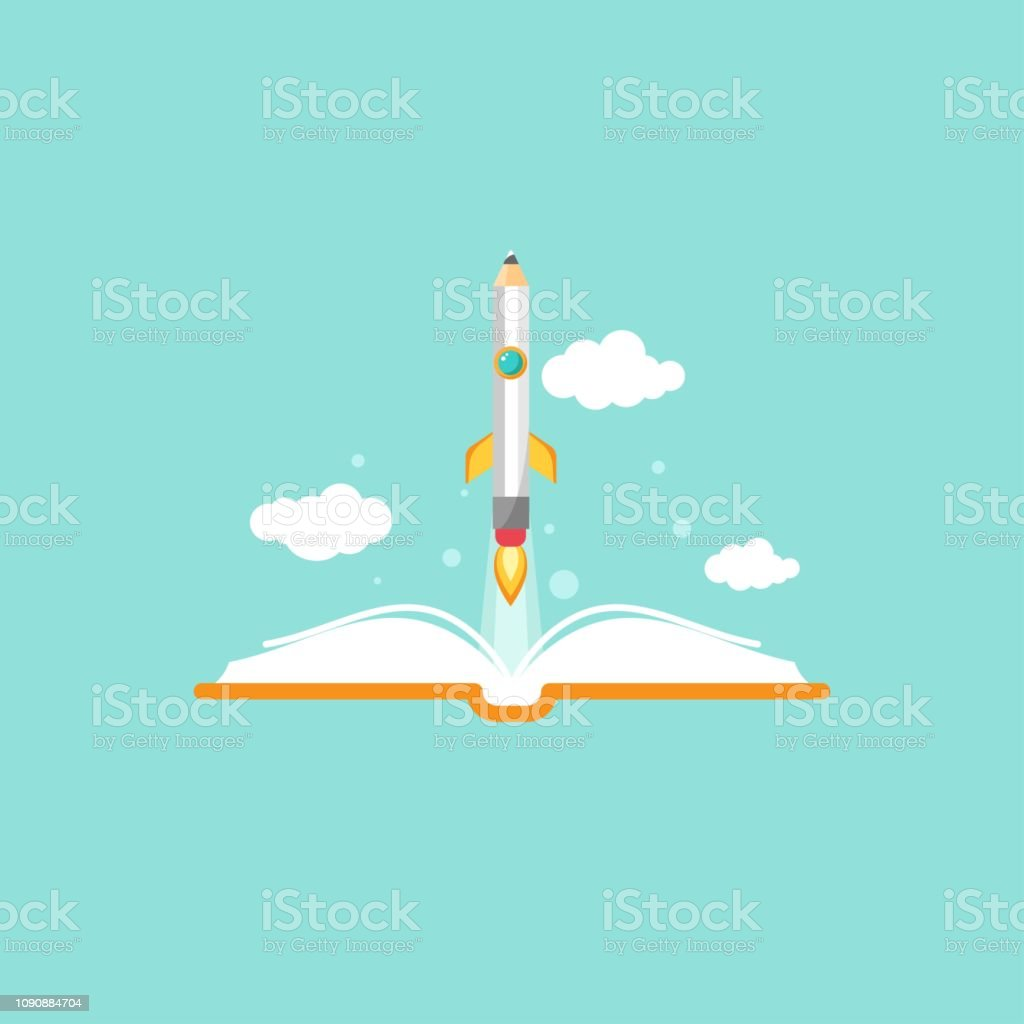 Open book and rocket pencil with fire on blue background. Vector flat...