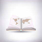 open book and world map