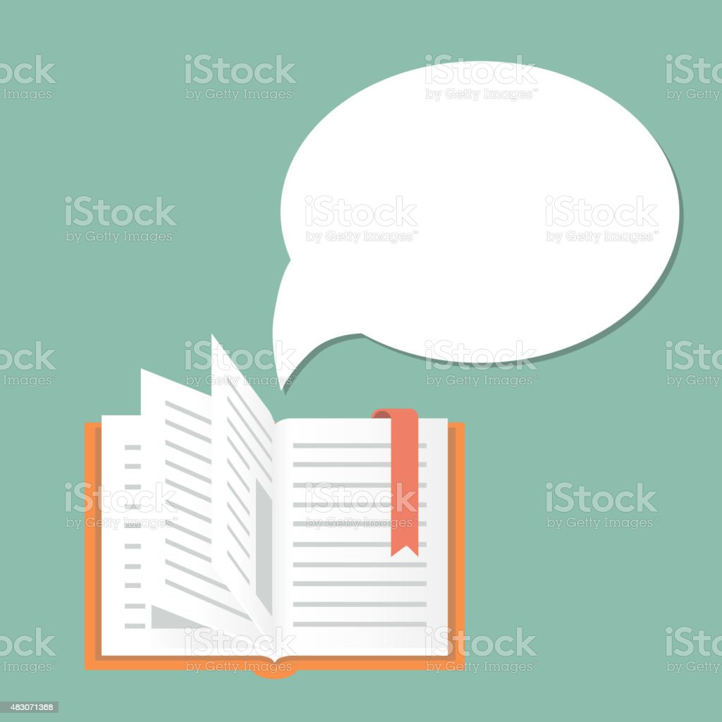 Open book background with speech bubble.  Literature and library, education vector art illustration
