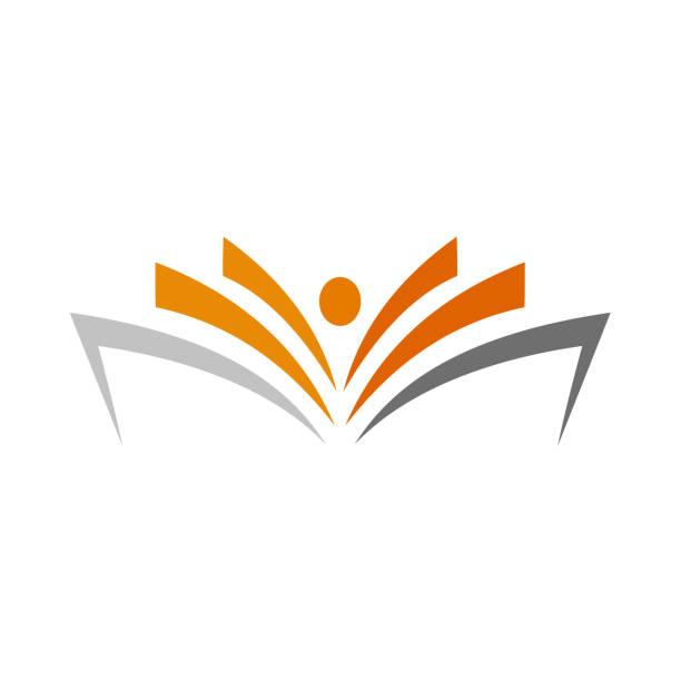 ilustraciones, imágenes clip art, dibujos animados e iconos de stock de icono de plantilla de vector de color de libro abierto - open book