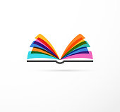 Open book - colorful concept icon of education, creativity, learning