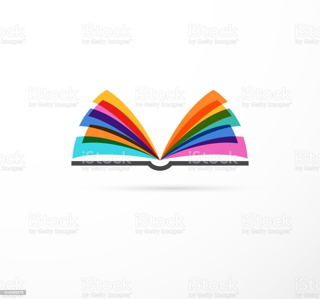 Open book - colorful concept icon of education, creativity, learning向量藝術插圖