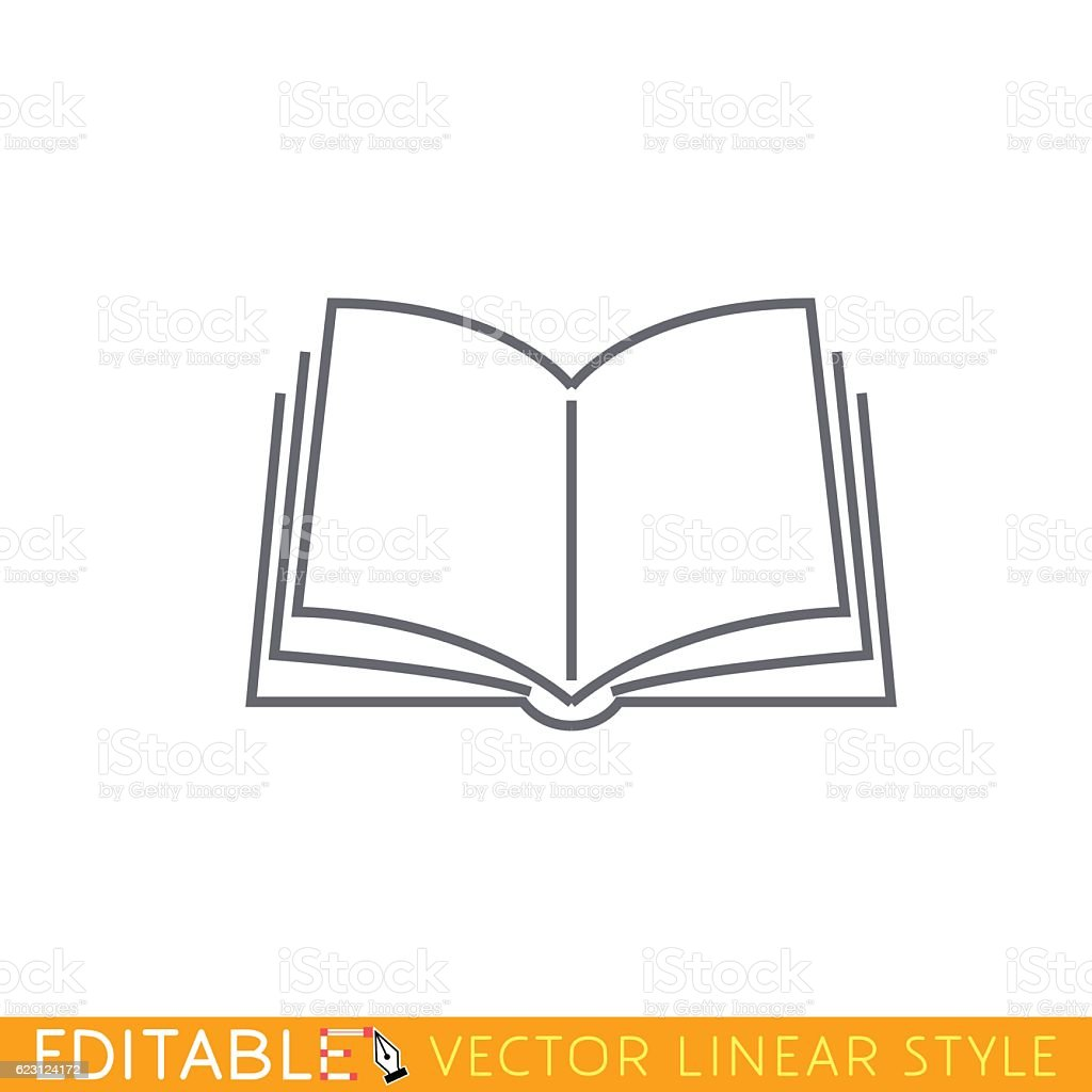 Open book. Editable outline sketch icon.向量藝術插圖