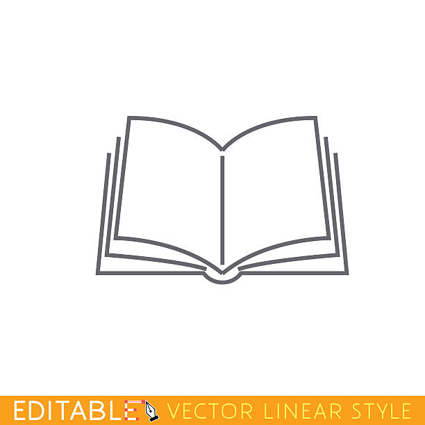 Open book. Editable outline sketch icon. vector art illustration