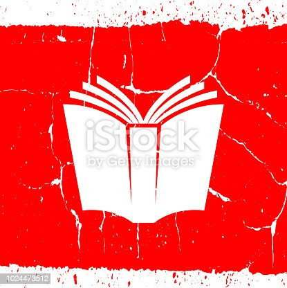 Open Book Educational Icon. The main icon is placed on a flat blue background. It takes up the center portion of the composition and is the main focus of this vector illustration. The icon is simple and the background further emphasizes the icon shape and makes it stand out. The illustration is a 100% royalty free vector.. The main icon is placed on a red grunge background. It takes up the center portion of the composition and is the main focus of this vector illustration. The icon is simple and elegant the background is detailed with cracks and specs of noise. The illustration is a 100% royalty free vector.