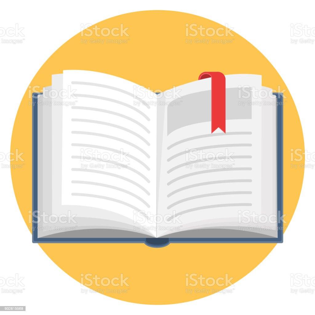 Open Book Flat Design Icon vector art illustration