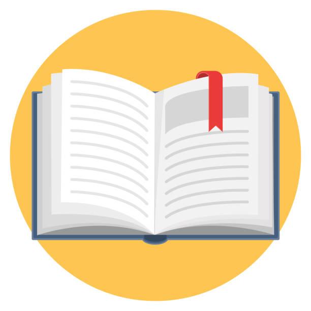 ilustrações, clipart, desenhos animados e ícones de ícone do design plano de livro aberto - aberto