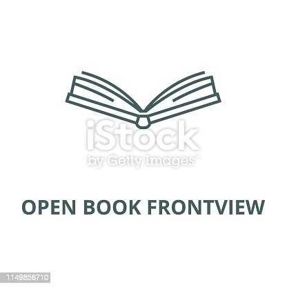 Open book frontview vector line icon, outline concept, linear sign