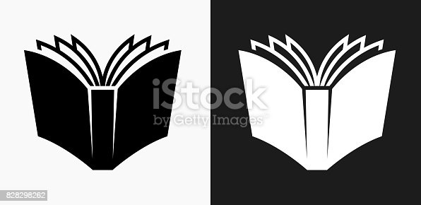 istock Open Book Icon on Black and White Vector Backgrounds 828298262
