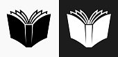 Open Book Icon on Black and White Vector Backgrounds