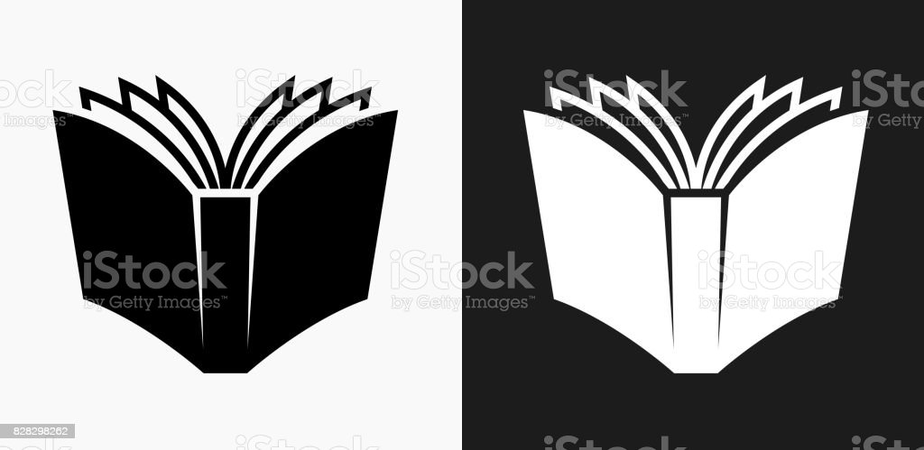 Open Book Icon on Black and White Vector Backgrounds vector art illustration