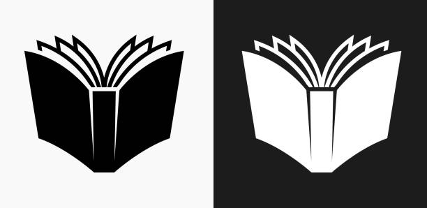 open book icon on black and white vector backgrounds - book clipart stock illustrations