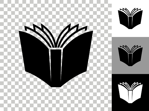 Open Book Icon on Checkerboard Transparent Background