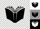 istock Open Book Icon on Checkerboard Transparent Background 1248403071