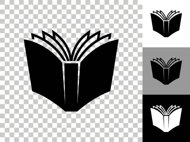 Open Book Icon on Checkerboard Transparent Background vector art illustration