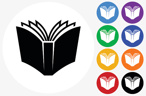 Open Book Icon on Flat Color Circle Buttons