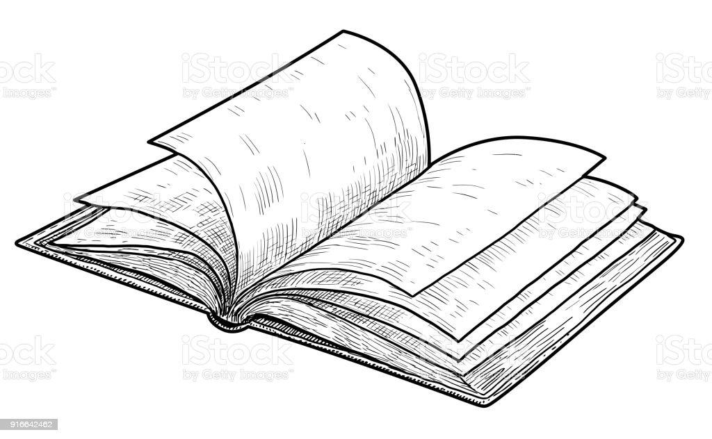 Illustration De Livre Ouvert Dessin Gravure Encre Dessin Au