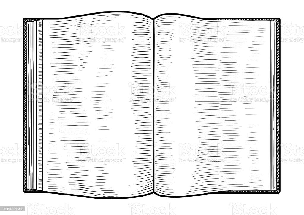Open Book Illustration Drawing Engraving Ink Line Art ...