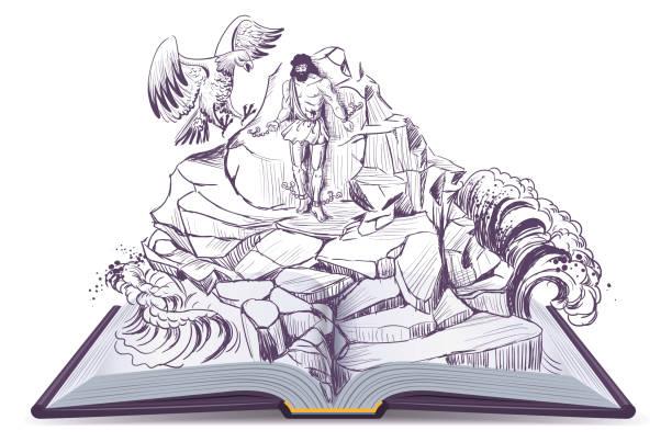open book illustration of legend of prometheus eagle pecks liver - mythology stock illustrations