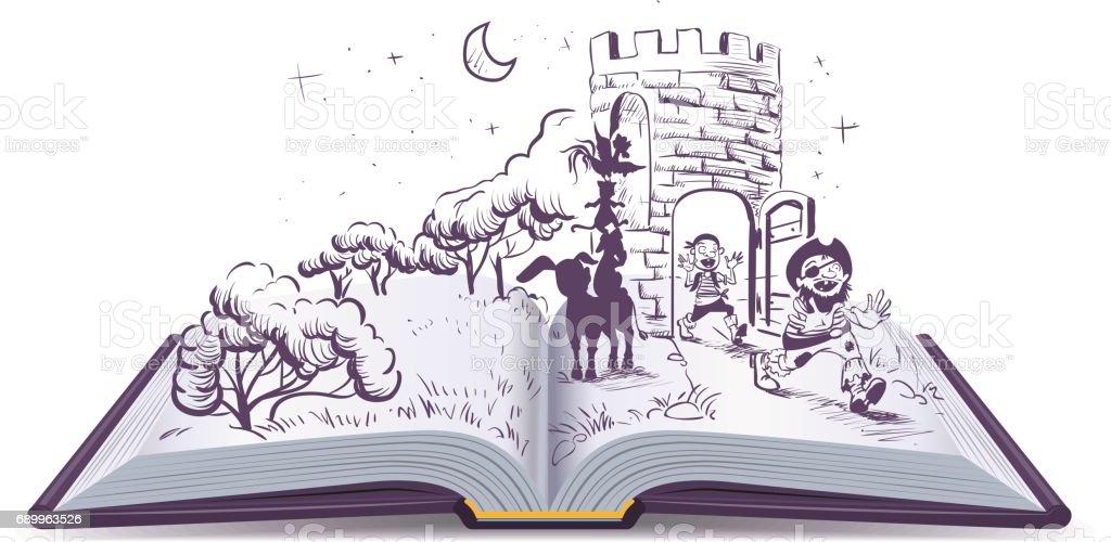 Open book illustration Tale of Bremen musicians ベクターアートイラスト