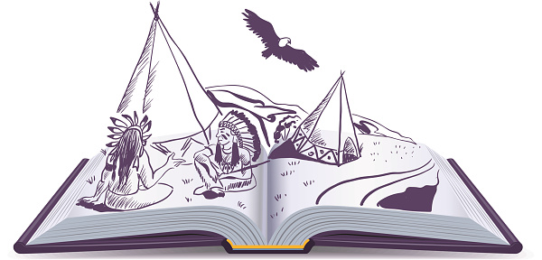 Open book. Indians sit at wigwam on pages open book