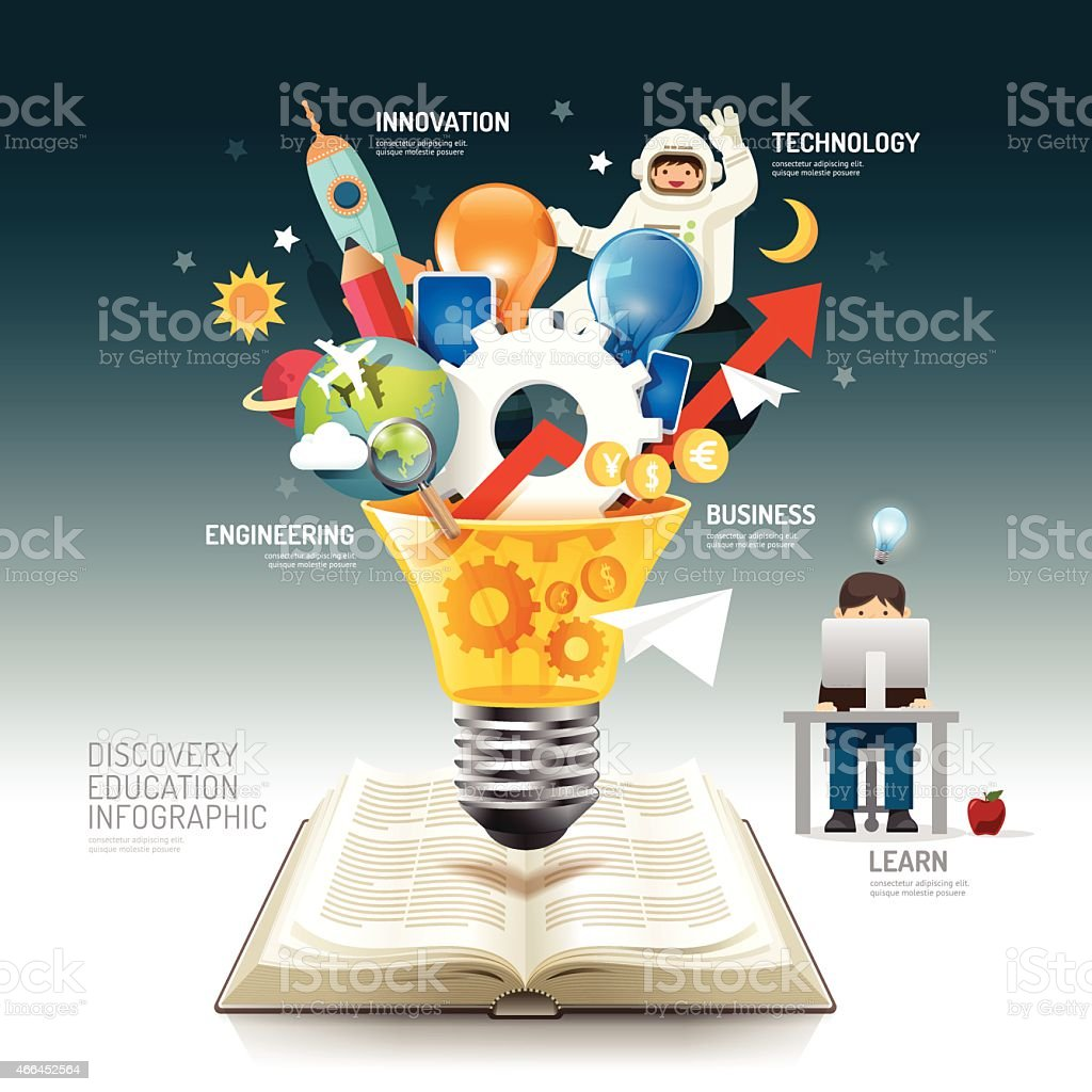 Open book infographic innovation idea on light bulb vector. vector art illustration