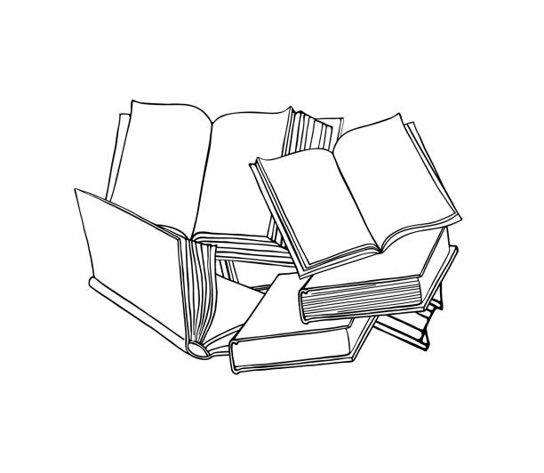 Open book. Linear icon with books. Hand drawn vector illustration. Open book. Linear icon with books. Hand drawn vector illustration. book drawings stock illustrations