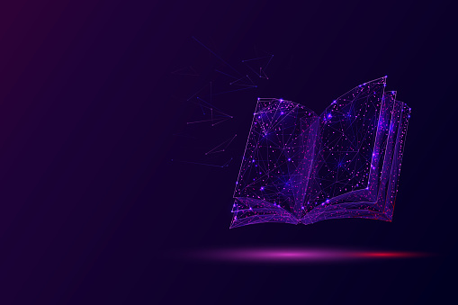 Open book low poly vector illustration. 3d encyclopedia. Polygonal textbook, dictionary. Education, information, knowledge metaphor mesh art with connected dots. Reading hobby concept
