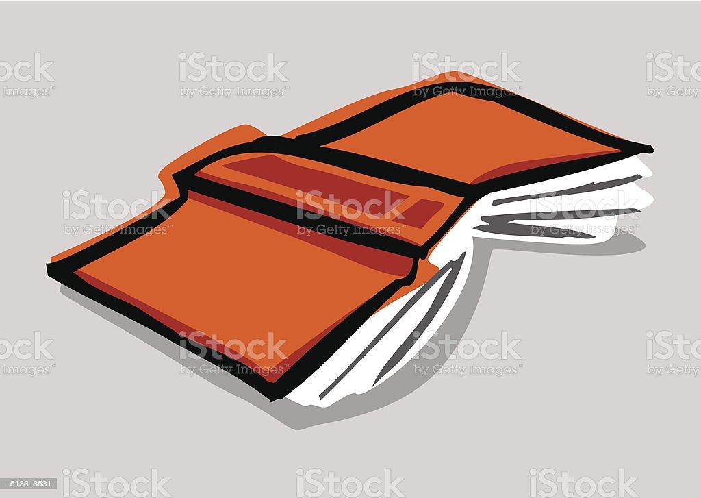 Libro abierto están recostadas en el piso - ilustración de arte vectorial