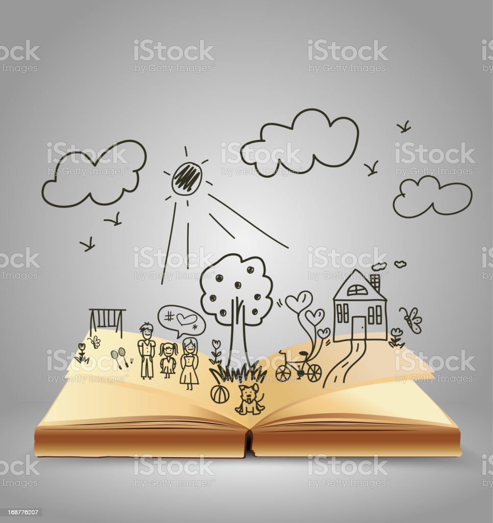 Open book of happy family stories royalty-free stock vector art