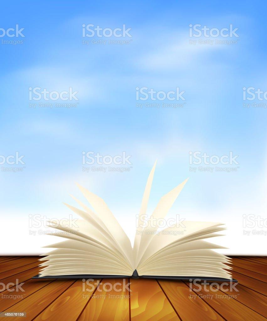 Open book on a wooden floor. royalty-free stock vector art
