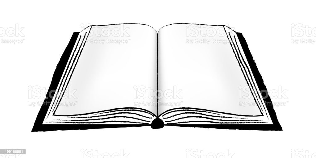 Open Book or Notebook BW vector art illustration