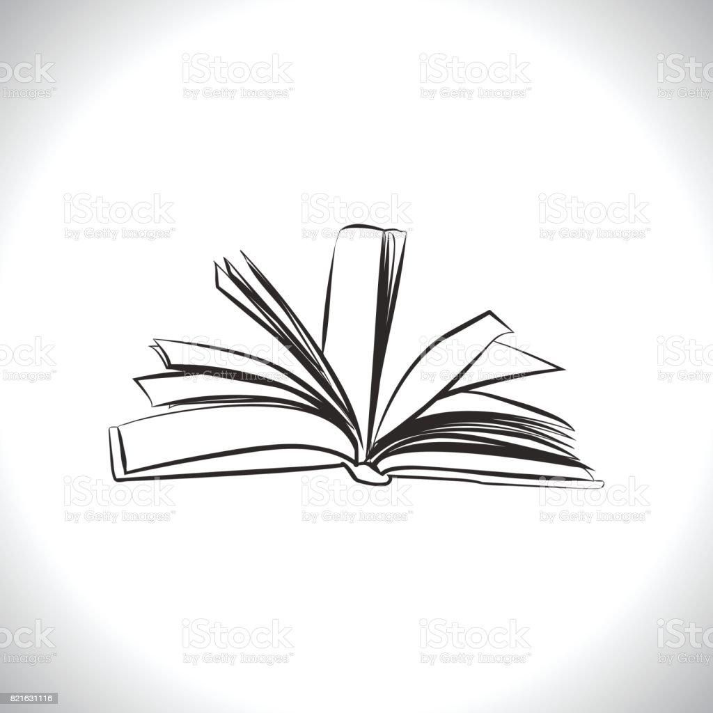 Open book outline vector art illustration