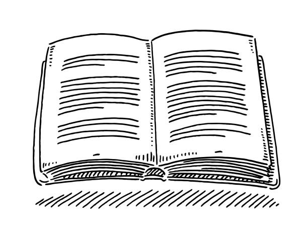 Open Book Reading Drawing Hand-drawn vector drawing of an Open Book, Reading Symbol. Black-and-White sketch on a transparent background (.eps-file). Included files are EPS (v10) and Hi-Res JPG. book clipart stock illustrations