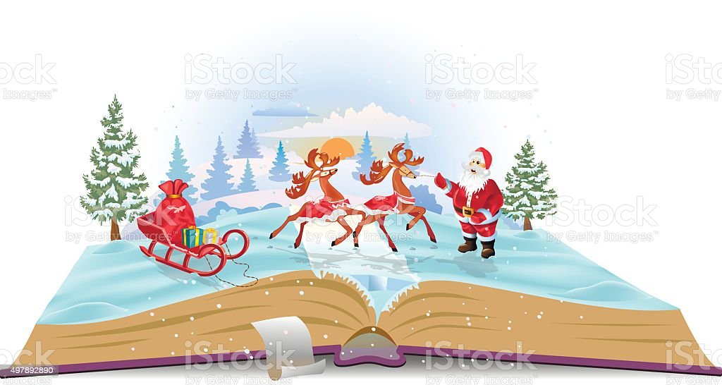 Open book Santa Claus with sledge and deers