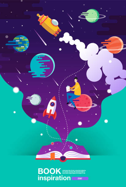 open book, space background, school, reading and learning , imagination and inspiration picture. fantasy and creative ,vector flat illustration. - fantasy stock illustrations