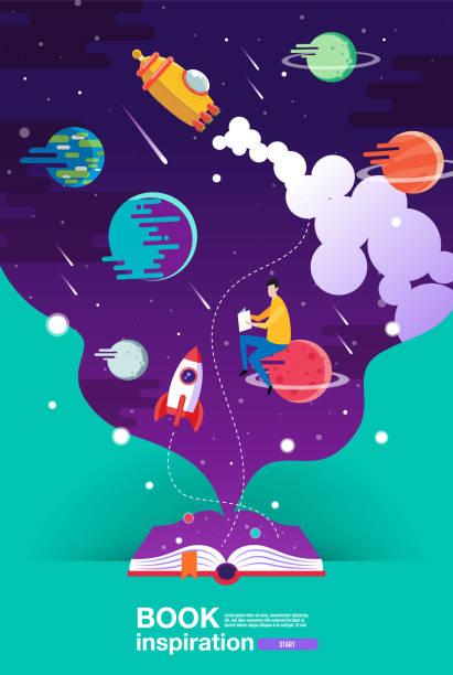 stockillustraties, clipart, cartoons en iconen met open boek, ruimte achtergrond, school, lezen en leren, verbeelding en inspiratie foto. fantasie en creatief, vector platte illustratie. - verbeelding