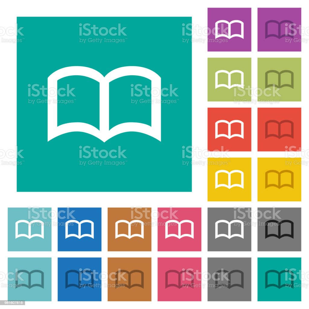 Livre Ouvert Carre Plat Multi Couleur Icones Vecteurs Libres
