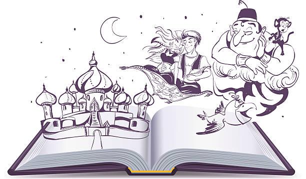 open book story tale magic lamp aladdin - geistergeschichten stock-grafiken, -clipart, -cartoons und -symbole