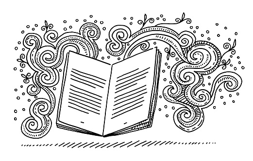 Open Book Storytelling Fantasy Doodle Drawing