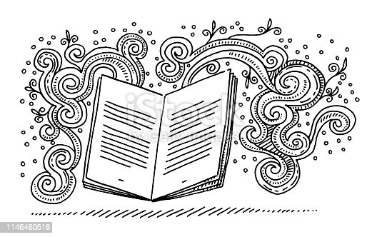 Hand-drawn vector drawing of an Open Book and Fantasy Doodles, Storytelling Concept. Black-and-White sketch on a transparent background (.eps-file). Included files are EPS (v10) and Hi-Res JPG.