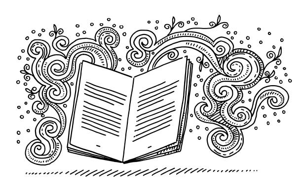 Open Book Storytelling Fantasy Doodle Drawing Hand-drawn vector drawing of an Open Book and Fantasy Doodles, Storytelling Concept. Black-and-White sketch on a transparent background (.eps-file). Included files are EPS (v10) and Hi-Res JPG. book drawings stock illustrations