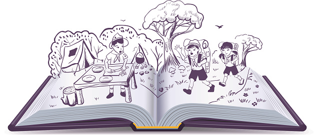 Open book. Summer rest. Scouts at camp