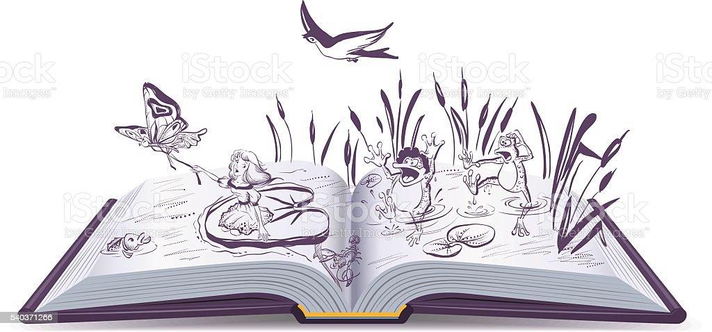 Open book tale Thumbelina vector art illustration