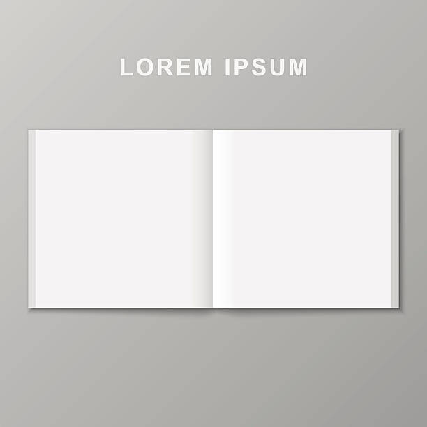 Open book template. Open book template. Vector blank pages on gray background. spreading stock illustrations