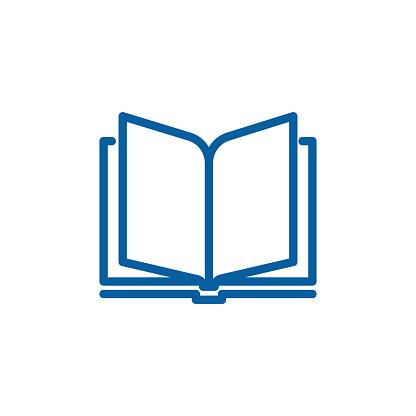 Open book thin line icon. Vector design illustration