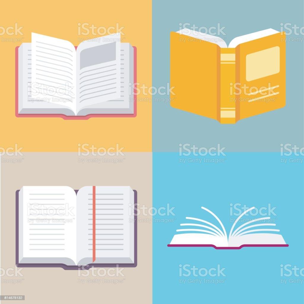 Offenes Buch-Vektor-Icons in einem flachen Stil Lizenzfreies offenes buchvektoricons in einem flachen stil stock vektor art und mehr bilder von arbeiten