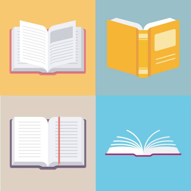 ilustrações, clipart, desenhos animados e ícones de ícones de vetor de livro aberto em um estilo simples - aberto