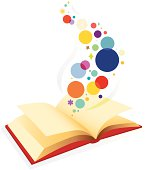 Open book revealing graphic elements that symbolize stories, ideas and/or imagination. Editable vector file.